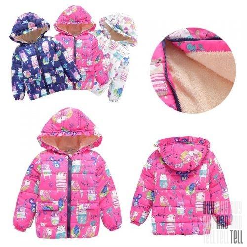 Girls Hooded Floral Coat Jacket - легкая осеняя курточка для девочки