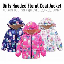 Girls Hooded Floral Coat Jacket