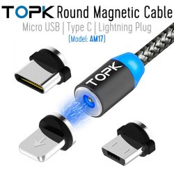 TOPK Round Magnetic Cable with Type C Plug